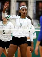 This MaxPreps.com professional photo features Carroll high school Asjia O'neal playing  Volleyball. This photo was shot by Gregory LaGrange and published on LaGrange.