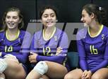 This MaxPreps.com professional photo features Salinas high school Jovi Marinelli, Isabelle Mandon and Christina Chagnon playing  Volleyball. This photo was shot by Greg Jungferman and published on Jungferman.