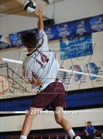 This MaxPreps.com professional photo features Loma Linda Academy high school Micah Puni playing Boys Volleyball. This photo was shot by David Nurse and published on Nurse.