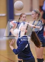 This MaxPreps.com professional photo features Rocky Hill high school Madison Santo playing  Volleyball. This photo was shot by Todd Kalif and published on Kalif.
