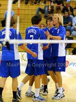 This MaxPreps.com professional photo features Norco high school Johannas Brink and Russ Adams playing Boys Volleyball. This photo was shot by Jann Hendry and published on Hendry.