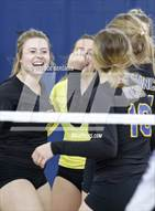 This MaxPreps.com professional photo is from the gallery Bakersfield Christian vs. Mission Oak (CIF D3 Central Section Championship) which features Bakersfield Christian high school athletes playing  Volleyball.